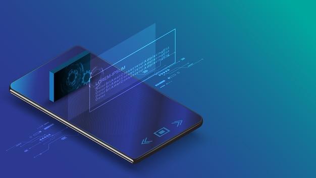 Smartfon z cyfrowym ekranem hologram technologii informacji futurystycznej koncepcji