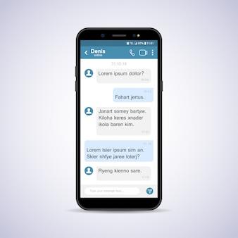 Smartfon z czatem społecznościowym.