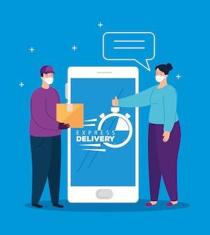 Smartfon z ekspresową dostawą aplikacji i osobami korzystającymi z maski
