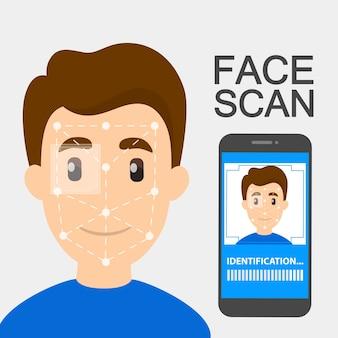 Smartfon z funkcją rozpoznawania twarzy. mobilny system skanera twarzy do identyfikacji biometrycznej. idea nowoczesnej technologii i postępu. ilustracja