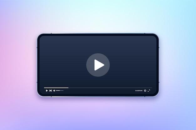 Smartfon z ilustracją aplikacji odtwarzacza multimedialnego
