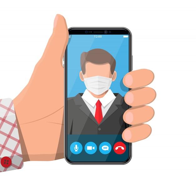 Smartfon z konferencją. mówca biznesmen i