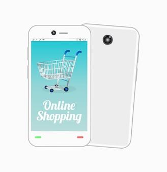 Smartfon z koszykiem online na ekranie