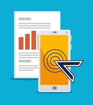 Smartfon z kursorem myszy i informacjami biznesowymi