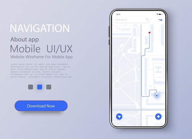 Smartfon z mapą i wskazaniem nawigacji na ekranie