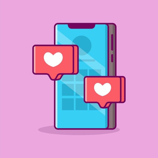 Smartfon z miłością ikona wektor ilustracja tło