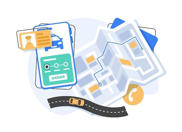 Smartfon z mobilną aplikacją do nawigacji na ekranie, mapa tras z symbolami pokazującymi lokalizację człowieka. element projektu koncepcyjnego global positioning system w stylu płaskiej
