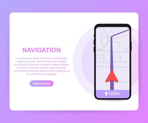 Smartfon z mobilną aplikacją do nawigacji na szablonie ekranu