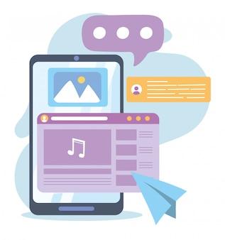 Smartfon z notatką muzyczną, czatem, komunikacją i technologiami w sieci społecznościowej