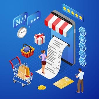 Smartfon z paragonem, pieniędzmi, ludźmi. zakupy w internecie i koncepcja płatności elektronicznych online. ikony izometryczne.