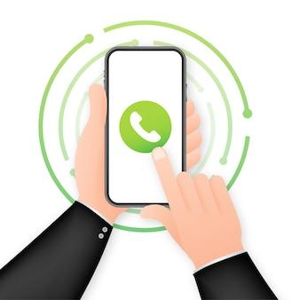 Smartfon z połączeniem przychodzącym na wyświetlaczu. ręka trzyma smartphone, palcem dotykając ekranu. czas ilustracja wektorowa.
