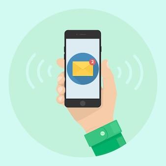 Smartfon z powiadomieniem o wiadomości na ekranie ilustracji