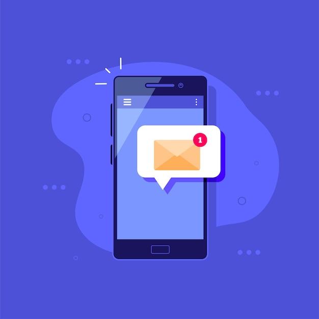 Smartfon z powiadomieniem o wiadomości na ilustracji płaski