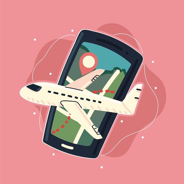 Smartfon z samolotem z mapą gps