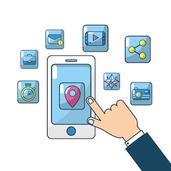 Smartfon z serwerem połączenia z ekranem dotykowym