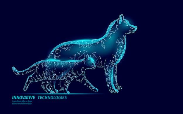 Smartfon z sylwetką psa i kota