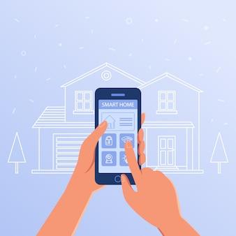 Smartfon z systemem inteligentnych ustawień domowych i kontrolerów.