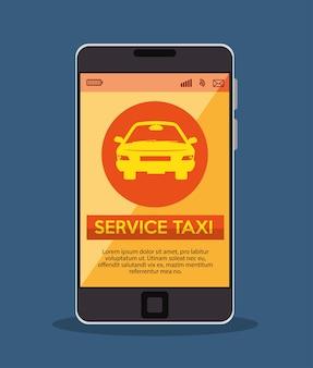 Smartfon z taksówką usługi aplikacji