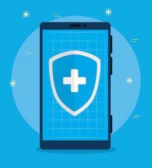 Smartfon z tarczą technologii telemedycznej aplikacji
