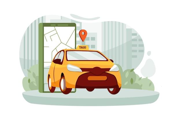 Smartfon z trasą i lokalizacją punktów na mapie miasta na tle krajobrazu miejskiego