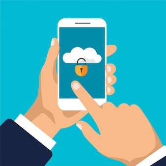 Smartfon z zablokowaną pamięcią w chmurze na ekranie. ochrona plików. koncepcja bezpieczeństwa danych i prywatności na wyświetlaczu telefonu. bezpieczne informacje poufne. ilustracja.