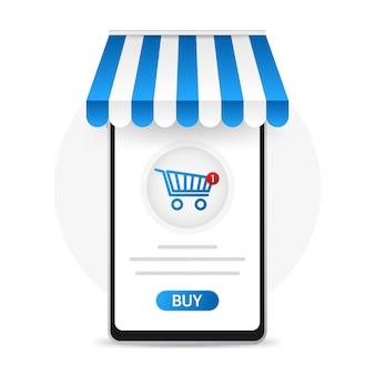 Smartfon z zakupem ekranu. koncepcja zakupów online.