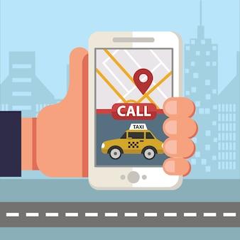 Smartfon zamawiający taksówkę za pośrednictwem aplikacji mobilnej