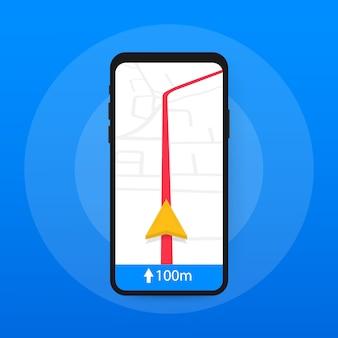 Smartfona z mobilną aplikacją do nawigacji na ekranie. mapa trasy pokazująca lokalizację