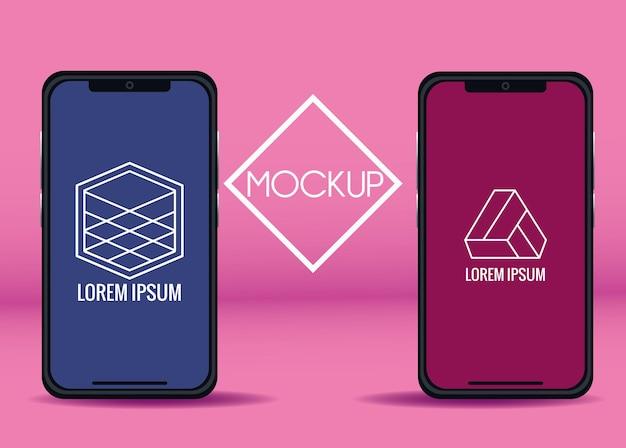 Smartfony z figurami geometrycznymi marki na różowym tle ilustracji