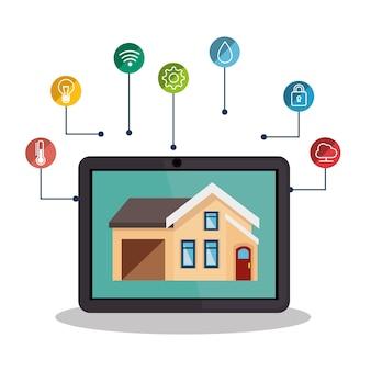 Smarthome technologia ikona na białym tle wektor ilustracja projektu