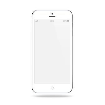 Smartphone biały kolor z pustym ekranem dotykowym na białym tle. makieta realistycznego i szczegółowego telefonu komórkowego