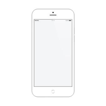 Smartphone biały kolor z pustym wygaszaczem ekranu dotykowego na białym tle. makieta realistycznego i szczegółowego telefonu komórkowego