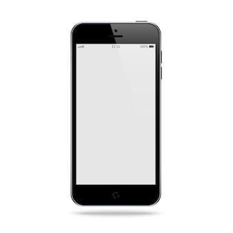 Smartphone czarny kolor z pustym ekranem dotykowym na białym tle. makieta realistycznego i szczegółowego telefonu komórkowego