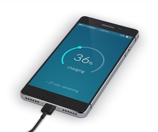 Smartphone ładowanie na białym tle