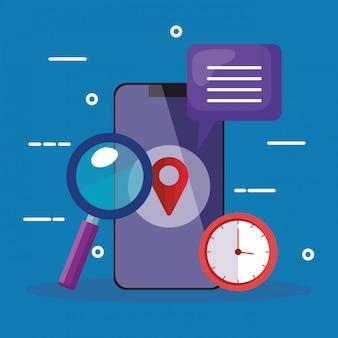 Smartphone lupe gps oceny zegar i bąbel wektorowy projekt