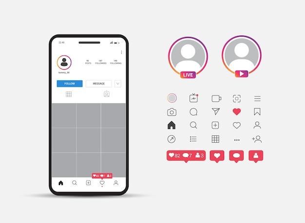 Smartphone makiety posta interfejsu w sieci społecznościowej awatar ikony mediów społecznościowych