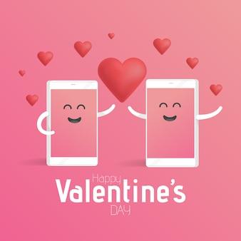 Smartphone miłości walentynki koncepcja. śliczny postać z kreskówki telefon z rękami, oczami i uśmiechem