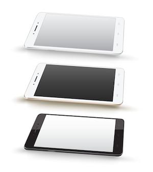 Smartphone mockups ustawiający na białym tle