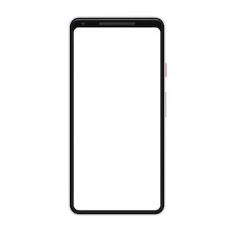 Smartphone na białym tle. telefon komórkowy z pustym ekranem.