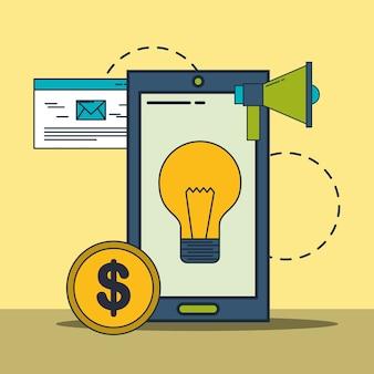 Smartphone pomysł kreatywność megafon pieniądze marketing cyfrowy
