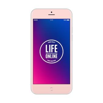 Smartphone różowy kolor z kolorowym ekranem na białym tle. makieta realistycznego i szczegółowego telefonu komórkowego