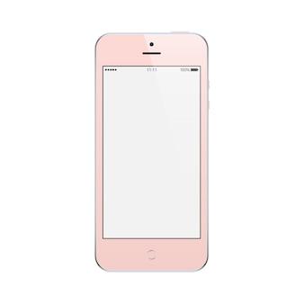 Smartphone różowy kolor z pustym ekranem dotykowym