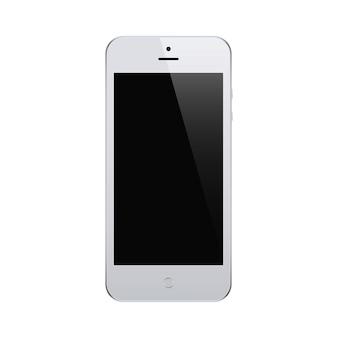 Smartphone szary kolor z pustym ekranem dotykowym na białym tle. makieta realistycznego i szczegółowego telefonu komórkowego