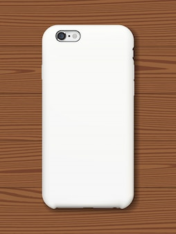 Smartphone tylna pokrywa makieta na drewnianym tle.