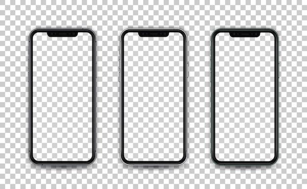 Smartphone w realistycznym stylu z pustym ekranem na białym tle. szablon prezentacji aplikacji do projektowania interfejsu użytkownika.