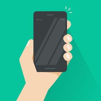 Smartphone w ręce wektor, czarny telefon komórkowy pusty ekran