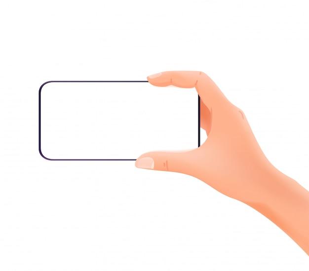 Smartphone w rękach odizolowywać na białym tle. orientacja pozioma