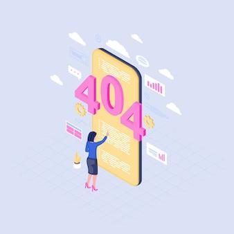Smartphone wyszukuje problemową isometric ilustrację. komunikat o błędzie 404 na ekranie telefonu komórkowego. kobieta czytająca utracone powiadomienie o połączeniu z serwerem. ekspert it zajmujący się rozwiązywaniem problemów z internetem