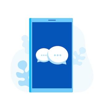 Smartphone z bańki wiadomości czatu. ilustracja nowoczesny styl mieszkania