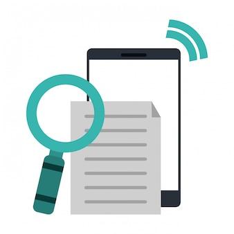 Smartphone z dokumentem i szkłem powiększającym